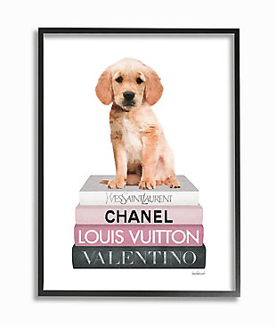 Adorable Puppy Sitting On Glam Fashion Books 24x30 Black Frame Wall Art, White, large