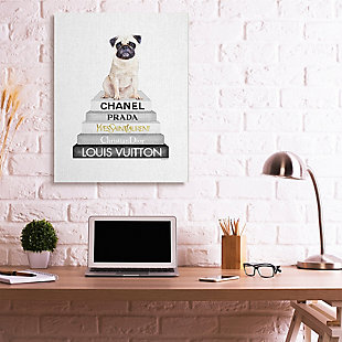 Glam Pug Sitting On Women's Fashion Icon Books 36x48 Canvas Wall Art, White, rollover