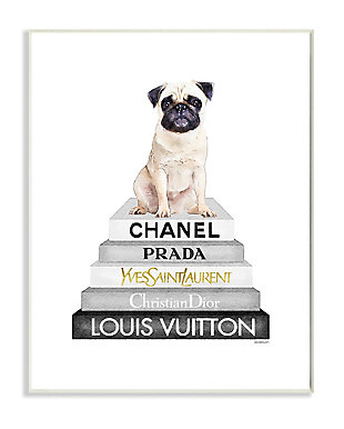 Glam Pug Sitting on Women's Fashion Icon Books 13x19 Wall Plaque, White, large