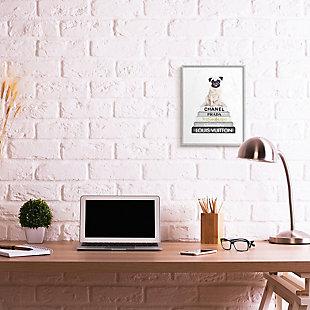Glam Pug Sitting on Women's Fashion Icon Books 16x20 Gray Frame Wall Art, White, rollover