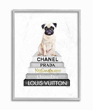 Glam Pug Sitting on Women's Fashion Icon Books 16x20 Gray Frame Wall Art, White, large