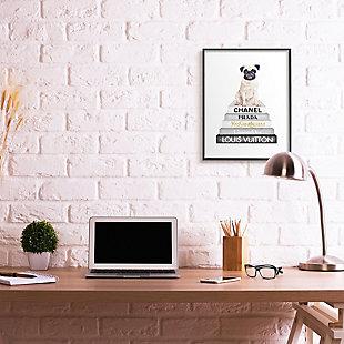 Glam Pug Sitting On Women's Fashion Icon Books 24x30 Black Frame Wall Art, White, rollover