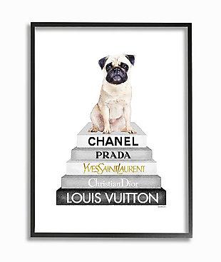 Glam Pug Sitting On Women's Fashion Icon Books 24x30 Black Frame Wall Art, White, large