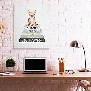 Smiling Corgi Puppy on Glam Fashion Icon Bookstack 36x48 Canvas Wall Art, White, rollover