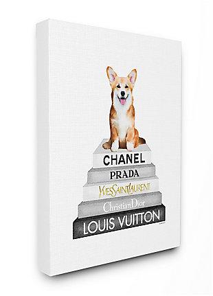 Smiling Corgi Puppy on Glam Fashion Icon Bookstack 36x48 Canvas Wall Art, White, large