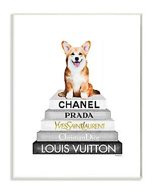 Smiling Corgi Puppy on Glam Fashion Icon Bookstack 13x19 Wall Plaque, White, large