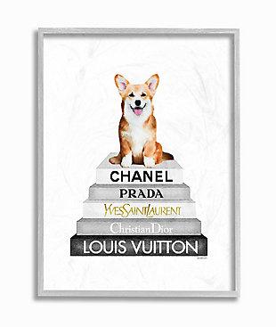 Smiling Corgi Puppy on Glam Fashion Icon Bookstack 16x20 Gray Frame Wall Art, White, large