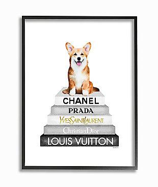 Smiling Corgi Puppy on Glam Fashion Icon Bookstack 24x30 Black Frame Wall Art, , large