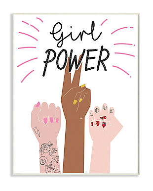 Girl Power Motivational Phrase 13x19 Wall Plaque, White, large