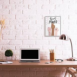 Girl Power Motivational Phrase 16x20 Gray Frame Wall Art, White, rollover