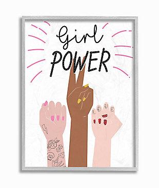 Girl Power Motivational Phrase 16x20 Gray Frame Wall Art, White, large