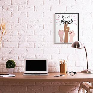 Girl Power Motivational Phrase 24x30 Gray Frame Wall Art, White, rollover