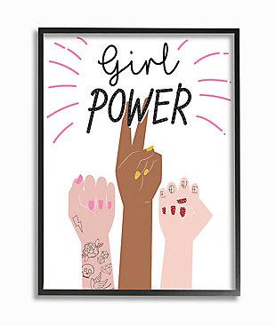 Girl Power Motivational Phrase 24x30 Gray Frame Wall Art, White, large