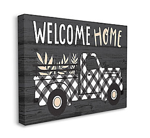 Black Farmer's Plaid Truck Welcome Home Sign 30x40 Canvas Wall Art, Black, large