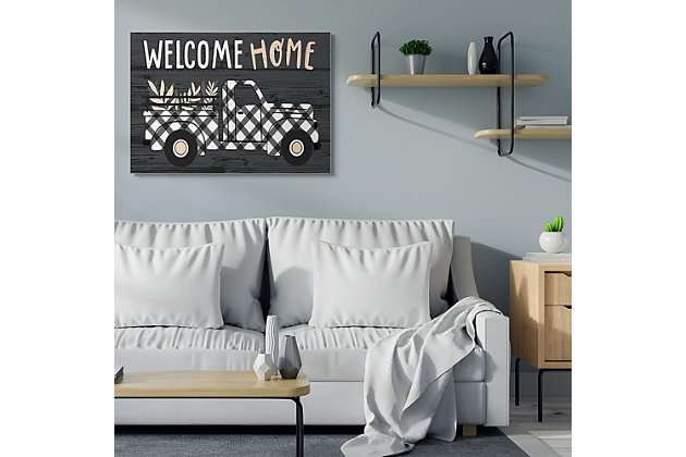 Black Farmer's Plaid Truck Welcome Home Sign 36x48 Canvas Wall Art, Black, large