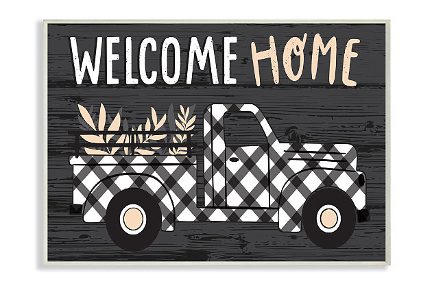 Black Farmer's Plaid Truck Welcome Home Sign 13x19 Wall Plaque, Black, large
