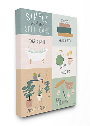 Self Care at Home Chart 36x48 Canvas Wall Art, Multi, large