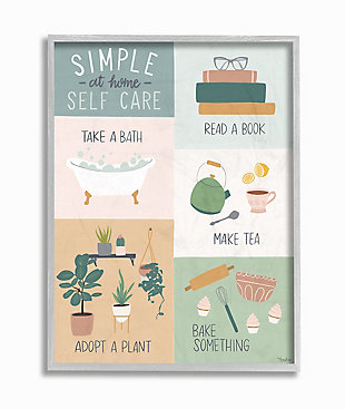 Self Care at Home Chart 16x20 Gray Frame Wall Art, Multi, large