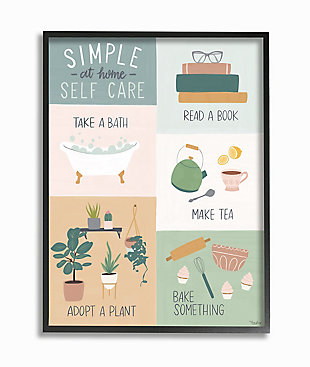 Self Care at Home Chart 24x30 Black Frame Wall Art, Multi, large