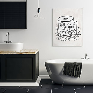 Bathroom Humor Text Me If You Need Toilet Paper 36x48 Canvas Wall Art, White, rollover