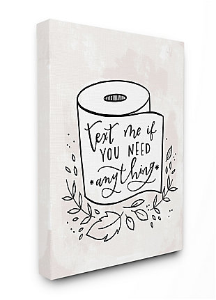Bathroom Humor Text Me If You Need Toilet Paper 36x48 Canvas Wall Art, White, large