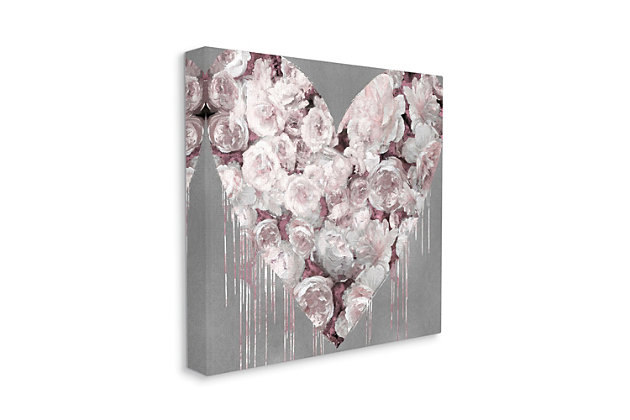 Pink Rose Heart over Grey 36x36 Canvas Wall Art, Gray, large