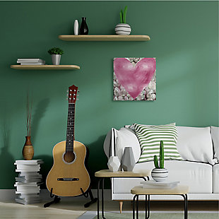 Pink Heart over Roses 24x24 Canvas Wall Art, , rollover