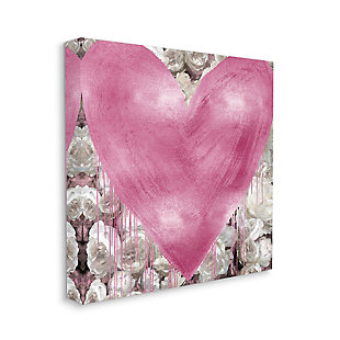 Pink Heart over Roses 30x30 Canvas Wall Art, , large