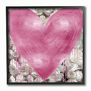 Pink Heart over Roses 12x12 Black Frame Wall Art, , large
