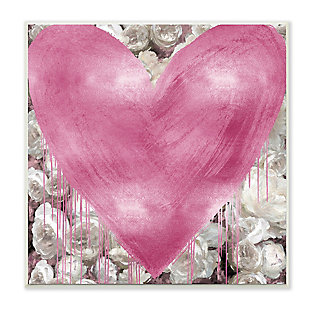 Pink Heart over Roses 12x12 Wall Plaque, , large