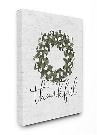 Cotton Flower Country Style Wreath 30x40 Canvas Wall Art, White, large
