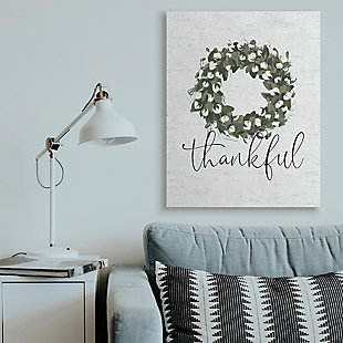 Cotton Flower Country Style Wreath 36x48 Canvas Wall Art, White, rollover