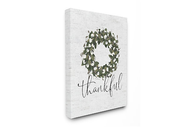 Cotton Flower Country Style Wreath 36x48 Canvas Wall Art, White, large