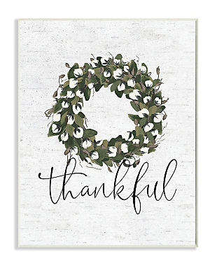 Cotton Flower Country Style Wreath 13x19 Wall Plaque, White, large