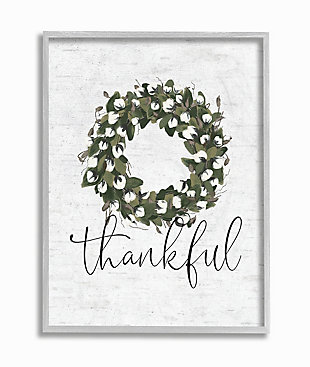 Cotton Flower Country Style Wreath 16x20 Gray Frame Wall Art, White, large