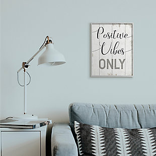 Positive Vibes Only Phrase 16x20 Gray Frame Wall Art, White, rollover