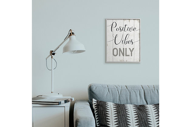 Positive Vibes Only Phrase 16x20 Gray Frame Wall Art, White, large
