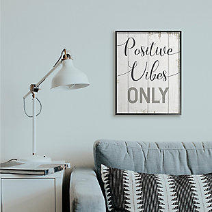 Positive Vibes Only Phrase 24x30 Black Frame Wall Art, White, rollover