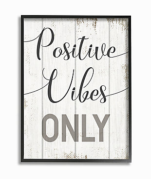 Positive Vibes Only Phrase 24x30 Black Frame Wall Art, White, large