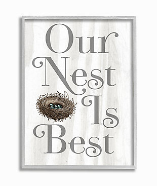 Our Nest Is Best Rustic Nursery 16x20 Gray Frame Wall Art, White, large