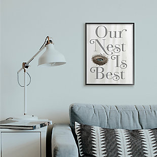 Our Nest Is Best Rustic Nursery 24x30 Black Frame Wall Art, White, rollover