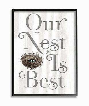 Our Nest Is Best Rustic Nursery 24x30 Black Frame Wall Art, White, large
