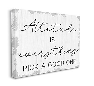 Pick A Good Attitude Phrase 36x48 Canvas Wall Art, White, large
