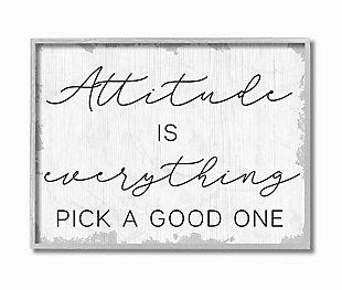 Pick A Good Attitude Phrase 16x20 Gray Frame Wall Art, White, large