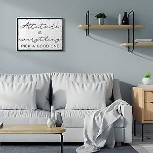Pick A Good Attitude Phrase 24x30 Black Frame Wall Art, White, rollover