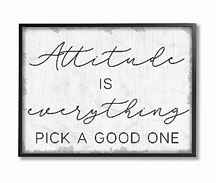 Pick A Good Attitude Phrase 24x30 Black Frame Wall Art, White, large