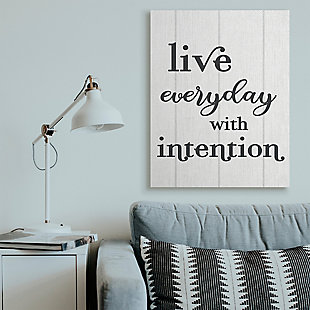 Live Everyday with Intention Quote 36x48 Canvas Wall Art, White, rollover