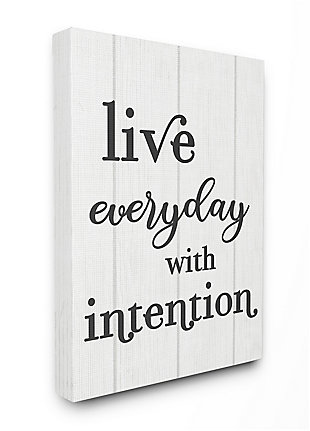 Live Everyday with Intention Quote 36x48 Canvas Wall Art, White, large
