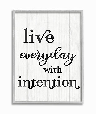 Live Everyday With Intention Quote 16x20 Gray Frame Wall Art, White, large