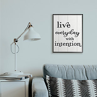 Live Everyday With Intention Quote 24x30 Black Frame Wall Art, White, rollover